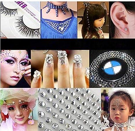 12 mm. 91 piezas autoadhesivas de imitaci/ón de diamantes manualidades u/ñas 4 tama/ños: 5 mm 10 mm ojos para fiestas maquillaje de cara carnavales.. para decoraci/ón 8 mm