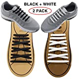 Extra No Tie Shoelaces for Men and Women - Best in Sports Fan – Waterproof Silicon Flat Elastic Athletic Running Shoe Laces with Multicolor for Sneaker Boot Board Shoes and Casual (Black + White)