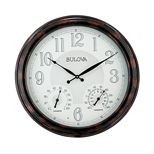 Bulova C4851 Weather Mate Lighted Dial Wall Clock, 22 , Copper