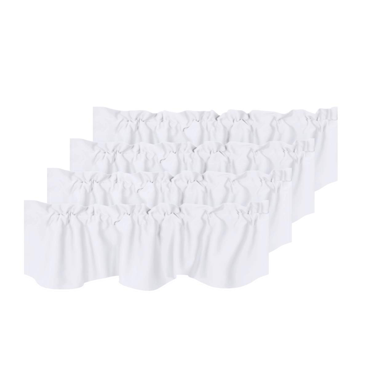H.VERSAILTEX Privacy Protection Kitchen Valances for Windows Room Darkening Curtain Valances for Bedroom, Rod Pocket Top, 4 Pack, Pure White, 52 x 18 Inch
