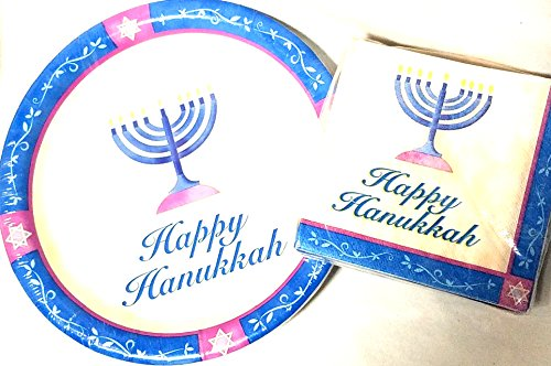 Happy Hanukkah Paper Napkins (20 Count) and Plates (10 Count) - Bright ()