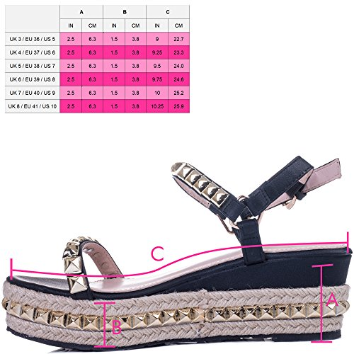 Spylovebuy Babelicious Women's Platform Wedge Heel Espadrille Studded Sandals Shoes Black Leather Style PVCsx0y