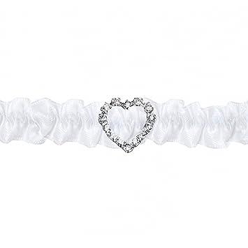 watch b33d9 917b4 Strumpfband weiß mit kleinem Strass-Herz | Braut Hochzeit