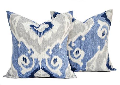 Two ikat print pillow covers, cushion, decorative throw pillow, Navy Blue Grey pillow, Magnolia pillow