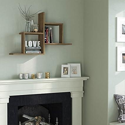 34 x 23 x 8 Ada Home D/écor Webb Wall Shelf Light Walnut