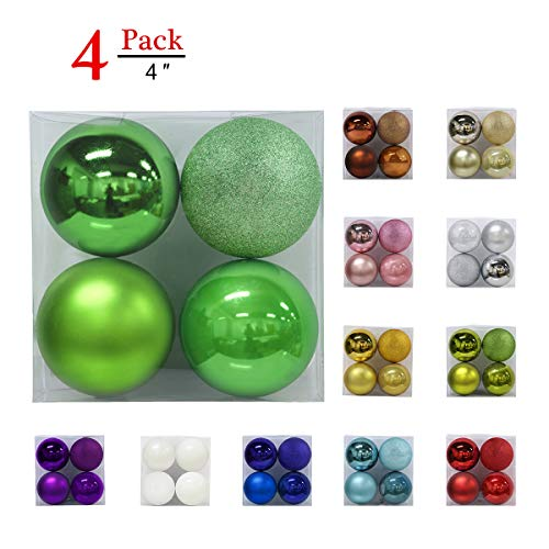 Christmas Balls Ornaments for Xmas Tree - Shatterproof Christmas Tree Decorations Large Hanging Ball Green 4.0