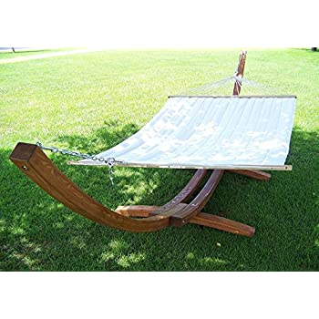 petra leisure 14 ft  teak wooden arc hammock stand   quilted beige color double padded hammock bed  2 person bed  450 lb capacity amazon     new deluxe curved arc cypress wooden hammock stand w      rh   amazon
