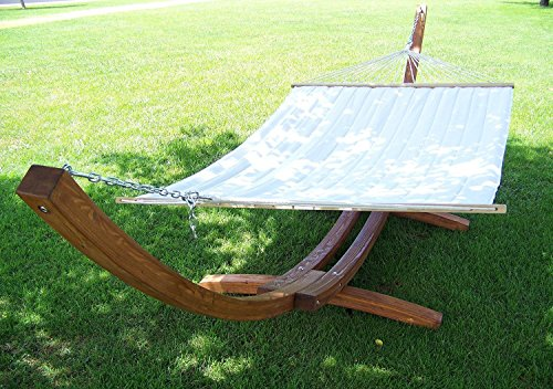 Petra Leisure 14 Ft. Teak Wooden Arc Hammock Stand + Quilted Beige Color, Double Padded Hammock Bed. 2 Person Bed. 450 LB Capacity