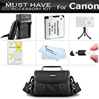 Must Have Accessory Kit For Canon Powershot SX400 IS, SX410 IS, SX420 IS Digital Camera Includes Extended Replacement (900maH) NB-11L Battery + Ac/Dc Charger + Deluxe Case + Screen Protectors + More