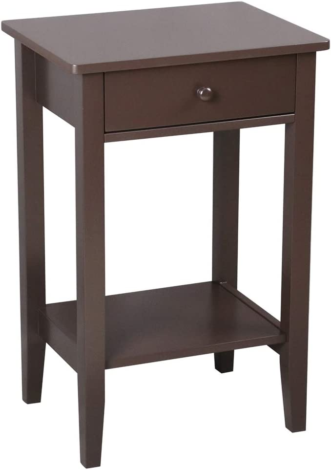 Bonnlo End Table Side Table Bedside Nightstand with Drawer and Storage Shelf, Brown