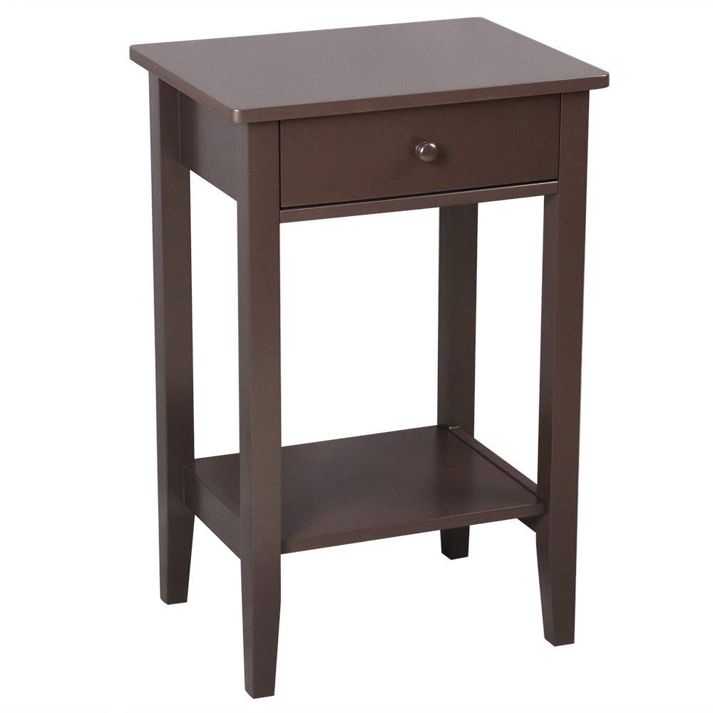Bonnlo Side Table End Table Bedside Nightstand with Drawer and Storage Shelf, Brown