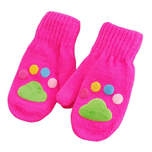 Koolee Infant Baby Girls Boys Mittens Winter Warm Gloves with String for 1-6 Year Old Children