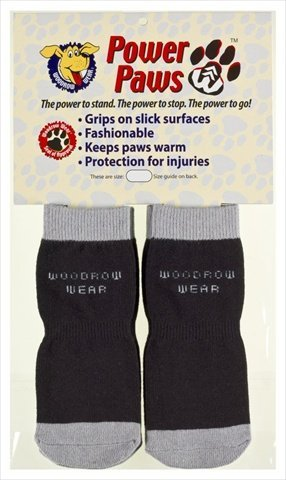 Power Paws 11-03 Small Traction Dog Socks in Black and Grey