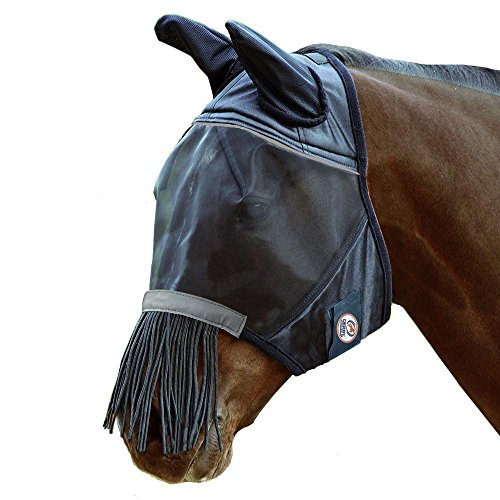 Derby Originals Reflective Fly Mask with One Year Warranty - With Ears and Nose Fringe, Black, Full Horse (Large)