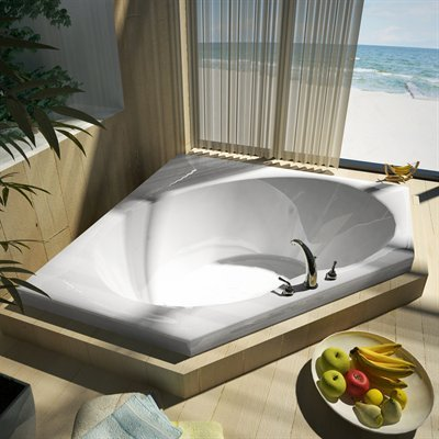 White 6060 Corner - Atlantis Whirlpools 6060v Venus Corner Soaking Bathtub, 60 X 60, Center Drain, White