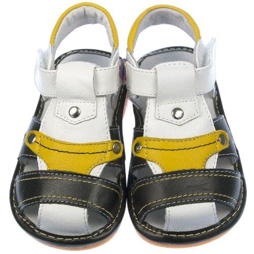 Freycoo garçon enfant pour enfants Jouet couineur Shoes Sandales en cuir véritable Noir/blanc