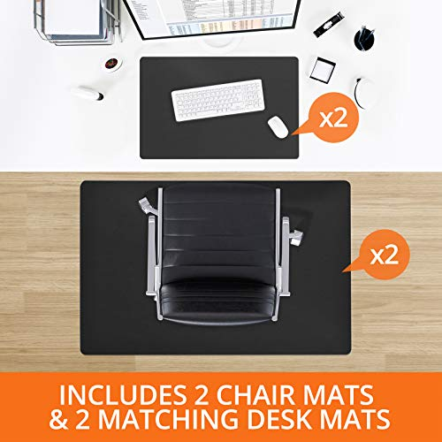 Desk Chair Mat for Hardwood Floor - Four Piece MEGA Saver Pack of Premium Office Desk Accessories   Two Office Chair Mats for Hardwood with Two Matching Desk Pads - Black