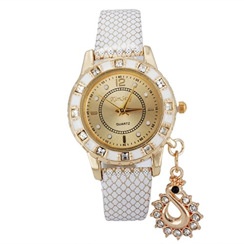 Buy Habors Rhinestone Studded Swan Pendant Watch With White Band