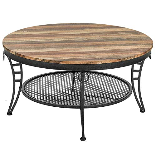 IRONCK Industrial Round Coffee Table for Living Room, Round Cocktail Table with Storage, Sturdy Curved Legs, Eco-Friendly MDF Board, Vintage Brown (Tables Sale For Industrial)