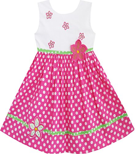 Dot Flower Girl - Sunny Fashion Girls Dress Pink Dot Flower Embroidered Sundress Size 5