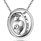 AYHU Heart Memorial Ccremation Urn Ashes Necklace Keepsake Pendant Jewelry for Mom Dad Grandma Sister Uncle - No longer by my side forever in my heart (Crystal Dad)