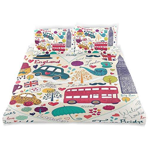 (MIGAGA Duvet Cover Set, Colorful Symbols Red Bus Big Ben Tea Umbrella Hat Retro Black Cabin Heart Print, Decorative 3Pc Bedding Sets with 2 Pillow Shams Queen Size)