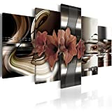 "living room decoration ideas Konda Art - Red Floral Canvas Art Prints Wall Artwork 5 Panels Modern Flower Painting Decorations for Living Room Framed Ready to Hang (40""x20"")"
