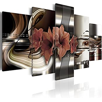 Konda Art - Red Floral Canvas Art Prints Wall Artwork 5 Panels Modern Flower Painting Decorations for Living Room Framed Ready to Hang (40