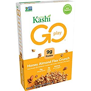 Kashi GO Honey Almond Flax Crunch Breakfast Cereal - Non-GMO Project Verified Project Verified, Vegetarian, Bulk Size 14 Oz Box (Pack of 4 Boxes)
