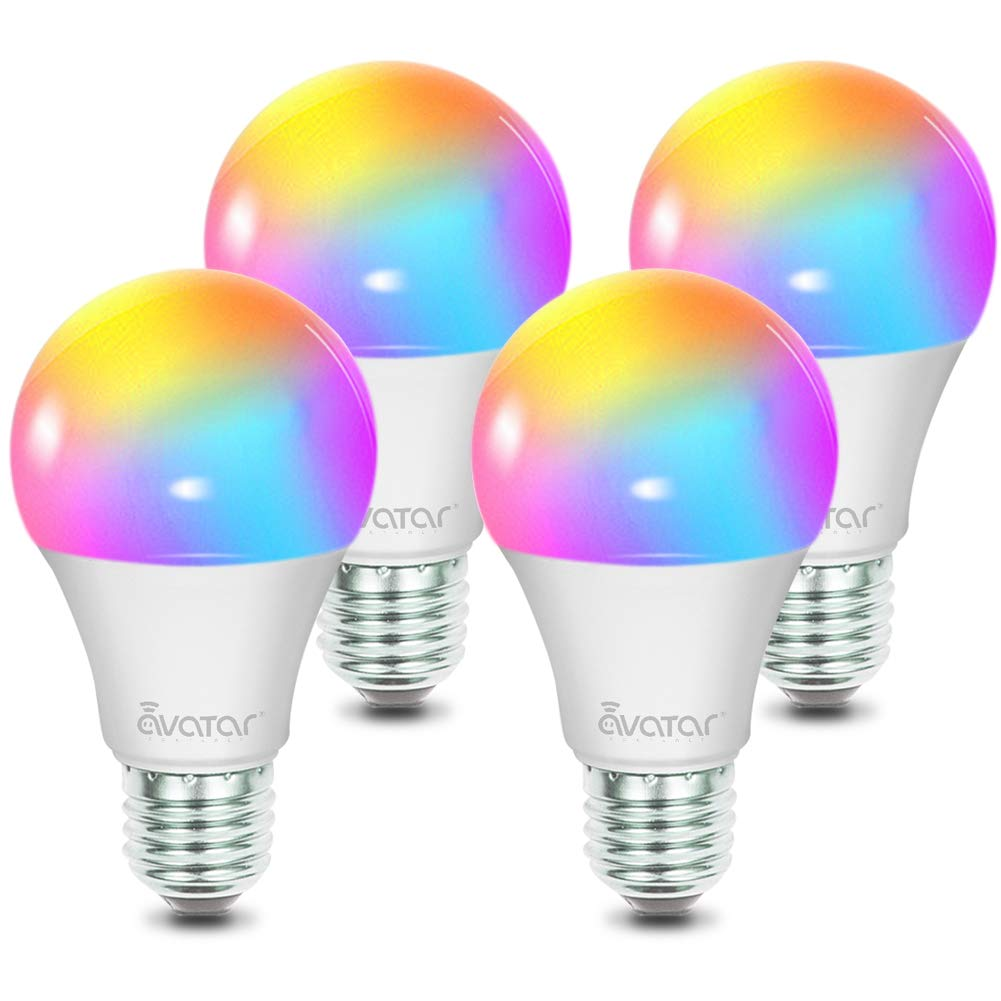 Smart Light Bulbs, Alexa LED Light Bulbs WiFi Lighting 4 Pack Work with Smart Life App, Google Home, Avatar Controls RGBW Color Changing Lights, No Hub Required (E26 A19 8W)