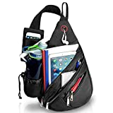 "Wandf Sling Pack Shoulder Backpack with Detachable 7"" Cell Phone Pouch & Shoulder Strap Fits iPad 2,3,4 or 10"" Tablet, Black"