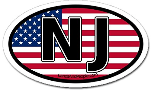 - New Jersey NJ and US Flag Car Bumper Sticker Oval