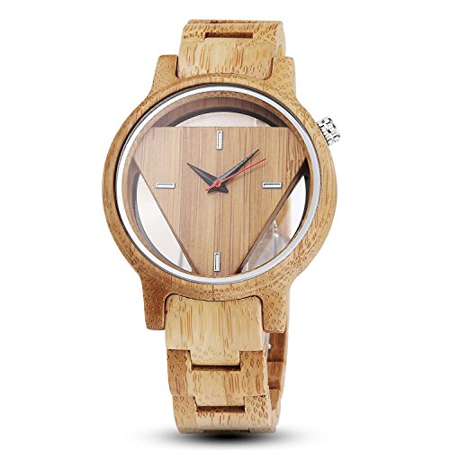 Quartz Wooden Watches for Men,Hand-Made Engraved Geometric Triangle Wood Watch Man Women Minimalist Wristwatches Birthday Christmas Gifts
