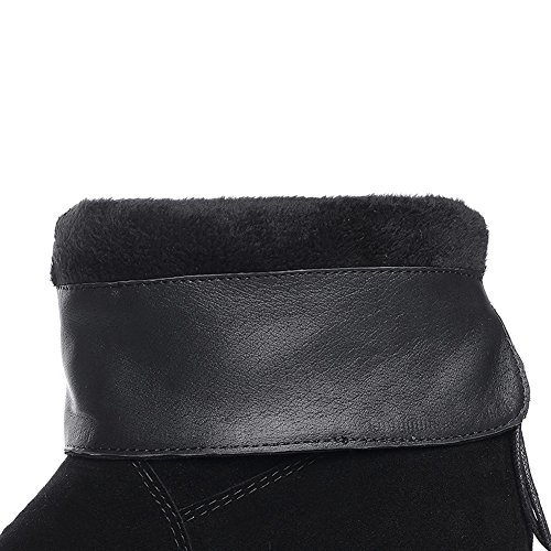 BalaMasa Ladies Heighten Inside Bandage Pull-on Frosted Boots Black 9D1dYJ7C