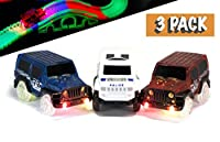 Replacement Toy Car Blue, Red and White Jeeps (3-Pack) with 3 LED Lights Compatible with Most Tracks Including Magic Tracks for Boys and Girls