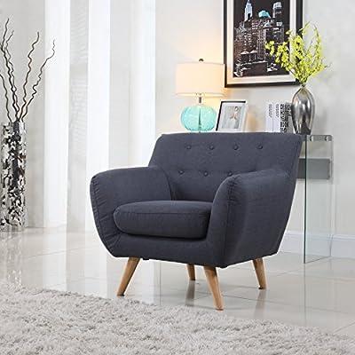 Mid Century Modern Style Sofa / Love Seat Red, Grey, Yellow, Blue - 1 Seat, 2 Seat, 3 Seat (Grey Blue, 1 Seater)