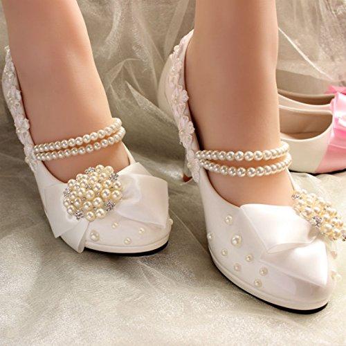 JINGXINSTORE Weißen High High High Heels Diamond Braut Hochzeit Schuhe Besteickter Spitze bowknot Stilettos d8b13d