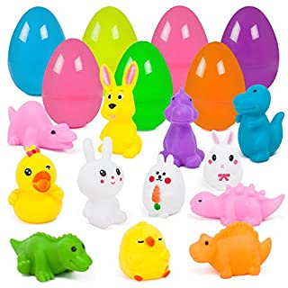 YIHONG Easter Eggs Prefilled with Bath Toys for Toddlers, 12 Pack Plastic Eggs with Assorted Toys for Kids Easter Egg Hunts, Easter Party Favors