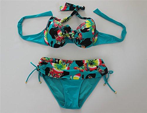 YONGYI Europa y el elegante y traje de baño de playa en verano, sello de perforación de planchado gran paquete bikini traje de baño elegante pieza de bañador split Green