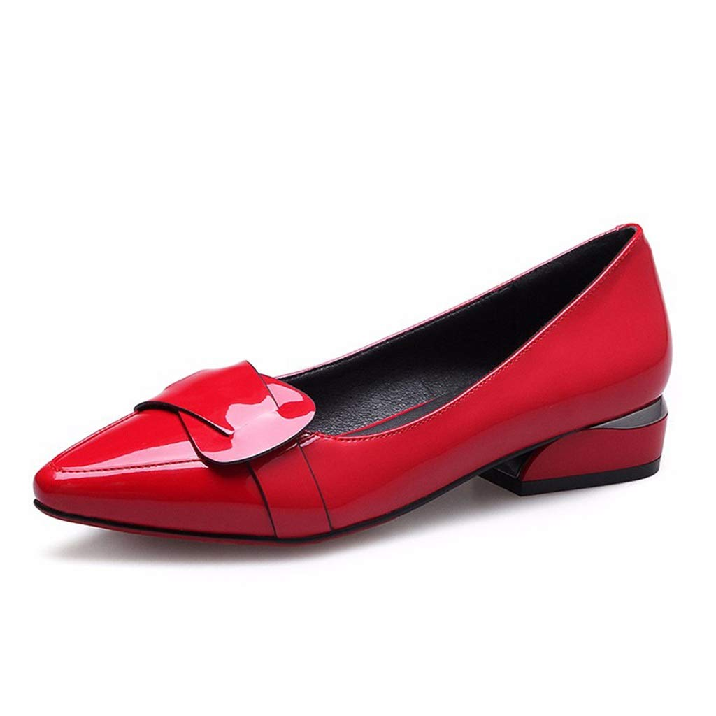 RED Large Size shoes Small Size Women's shoes New Thin shoes Female Pointed Patent Leather Shallow Mouth Small shoes Flat shoes Large Size Thick with OL Work shoes (color   Black, Size   39)