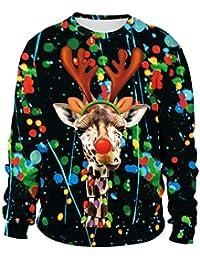 Unisex Men Women Ugly Christmas Sweatshirt 3D Digital Printing Xmas Santa Pullover Sweater