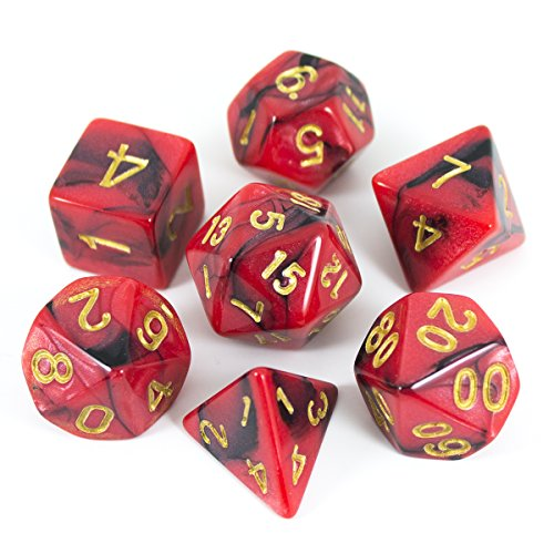 Paladin Roleplaying Red and Black Dice - Full Polyhedral Set - 'Salamander' by Paladin Roleplaying