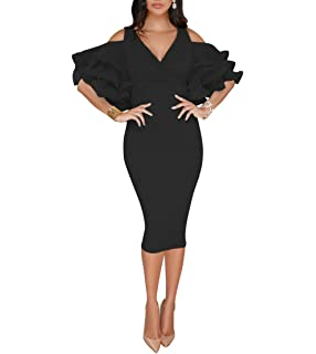 1ef43a48983a VERWIN Solid Flounced Sleeves Cold Shoulder V Neck Elegant Sexy Party  Evening Midi Dress Bodycon Dress