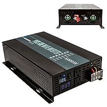 Reliable 5000W 12V 120V DC to AC Power Generator Digital LED Voltage Display Pure Sine Wave Solar Power Inverter Home Power Gernerator (Black)
