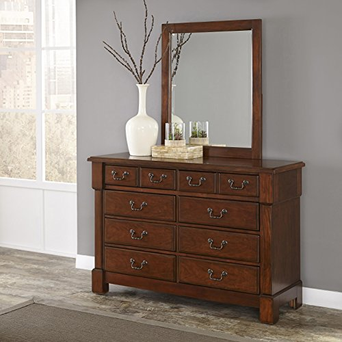 Home Styles 5520-74 Aspen Rustic Cherry Finish Collection Dresser and Mirror
