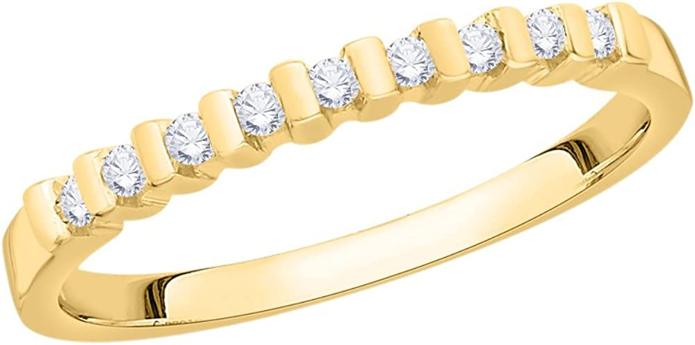 Size-7.25 1//8 cttw, Diamond Wedding Band in 14K Yellow Gold G-H,I2-I3