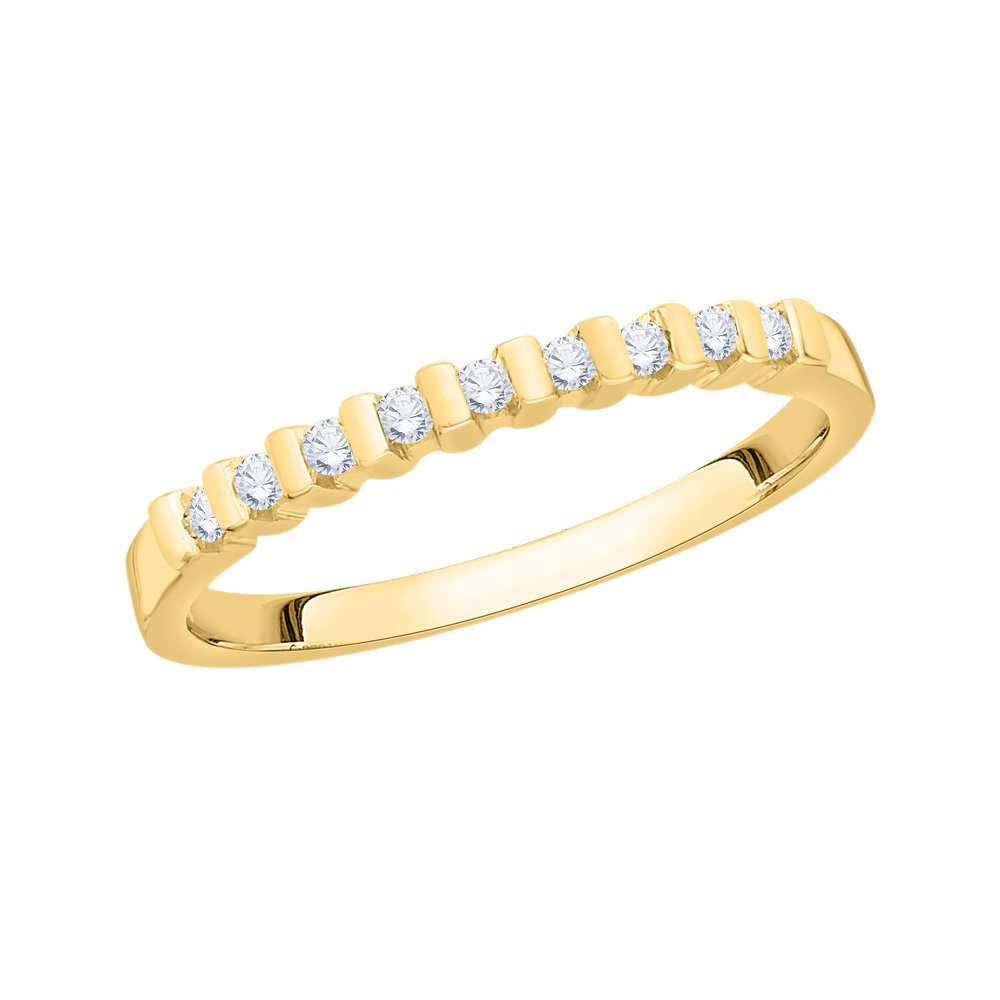 Diamond Wedding Band in 10K Yellow Gold 1//8 cttw, G-H,I2-I3 Size-6.25