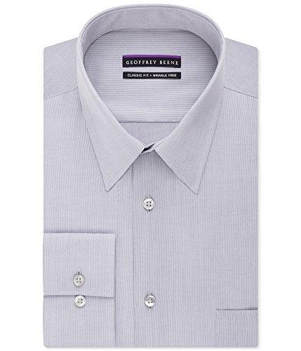 Geoffrey Beene Men's Regular Fit Textured Stripe Sateen Shirt, Chrome, 14.5