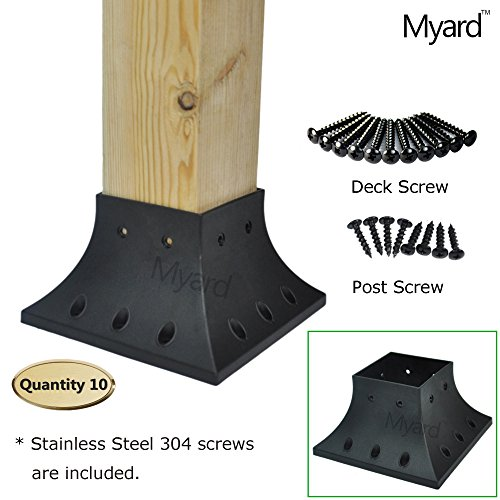 Myard 4x4 (actual 3.5x3.5 ) Inches Post Base Cover Skirt Flange w/ Screws for Deck Porch Handrail Railing Support Trim (Qty 10, Black) by Myard