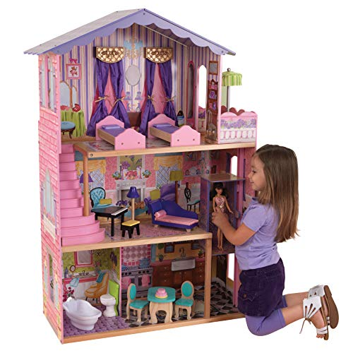KidKraft My Dream Mansion Wooden Dollhouse with New Gliding Elevator and 13 P, Pink